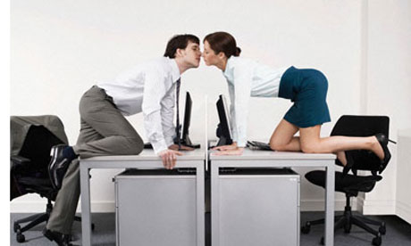 Business Couple Kissing